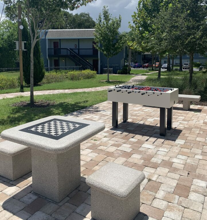 Outdoor Game Courtyard- chess, foosball and ping pong